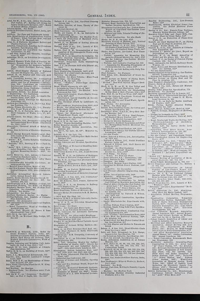 Engineering 1952 Jan-Jun: Index: General - Graces Guide