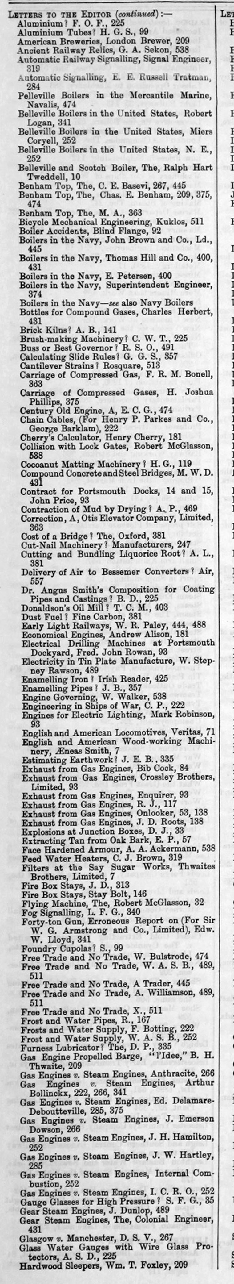 The Engineer 1895 Jan-Jun: Index: Miscellaneous - Graces Guide